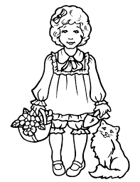 Children Girl Cat Coloring Page And Girly Best Free Coloring Pages