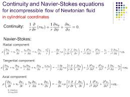 continuity and navier stokes equations for incompressible flow of newtonian fluid