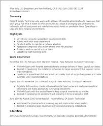Resume Templates: Supply Technician