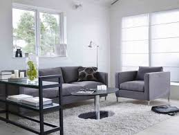 modern grey sofa set with white fur rug for stylish living room