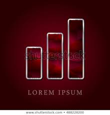 Bar Chart Red Crystal Ruby Silver Stock Image Download Now