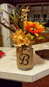 Fall Table Decorations With Mason Jars Burlap Letter J With Fall Theme Monogram Wedding Decoration 41