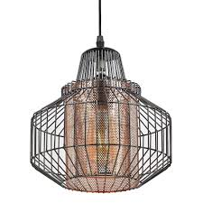 details about industrial polished black nickel pendant light fitting with copper mesh shade