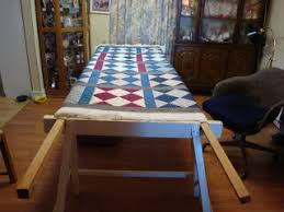 """Looking for Quilt Frame plans - by PaBull @ LumberJocks.com ... & But this is what I came up with after googling """"ceiling quilt frame"""". So I  like it better on stands, and I saw some folks use sawhorses to mount the  frame ... Adamdwight.com"""