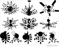templates abstract vector chandelier silhouette on white