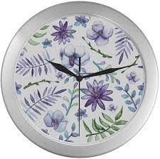 Amazon Com Clock Wall Decor Pink And Blue Flowers Wall Clock Vintage 9 65 Inch Silver Quartz Frame Decor For Office School Kitchen Living Room Bedroom Home Kitchen