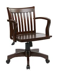 Office Star Deluxe Wood Bankers Desk Chair With Armless Wheels Seat Fruit  Kitchen Dining Glass Room Wooden Swivel S38