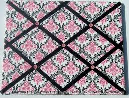 White French Memo Board Custom Black Pink On White Damask Memory Board French Memo Etsy