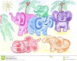 Baby Elephant Drawings Funny Colored Baby Elephants Drawing Stock Illustration