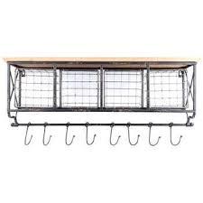 wall shelf with metal baskets hooks