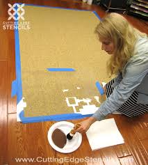 stencil placement diy home decor rug tutorial