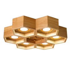 aliexpress com kc brief natural wood ceiling lights beehive design handcraft eco ceiling lamp for study bedroom 6 heads nordic loft lighting from