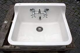 white vintage style high back farm sink