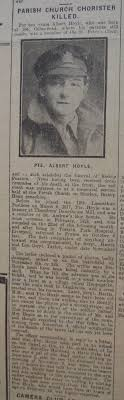 Burnley Roll of Honour Private Albert Hoyle