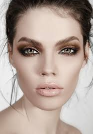 green e brunette with beautiful high fashion make up