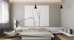 bedroom with nature inspired design and black small pendant lamp with laminate flooring grey wall features bedroom simple modern bedroom design
