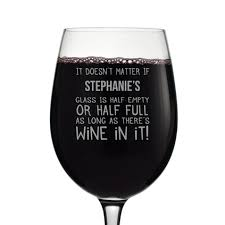 personalised half empty half full wine glass