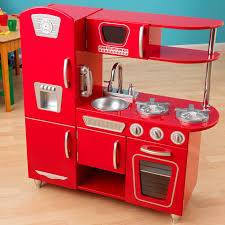 Childrens Wooden Kitchen Furniture Kidkraft Red Vintage Play Kitchen 53173 Play Kitchens At Hayneedle