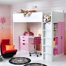 beautiful bedroom interior design having pink and white color bed desk combo ikea
