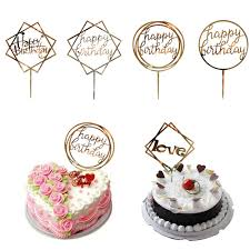 2019 Love Happy Birthday Golden Cake Topper Party Supplies Happy