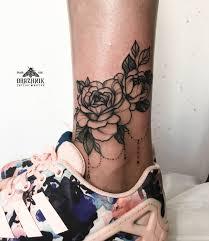 Flower Tattoo For Woman Rose цветы на лодыжку розы с украшением