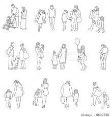 親子のポーズ線画のイラスト素材 6892636 Pixta