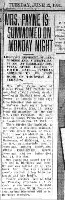 Effie (Ferguson) Payne obituary. Died Monday, 11 June 1934 - Newspapers.com