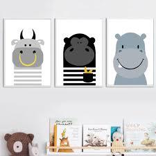 Cow Monkey Hippo Wall Art <b>Canvas</b> Painting <b>Cartoon Animal</b> ...