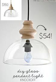 diy glass pendant light knockoff
