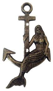 >cast iron mermaid anchor metal wall art antique gold beach style  cast iron mermaid anchor metal wall art antique gold