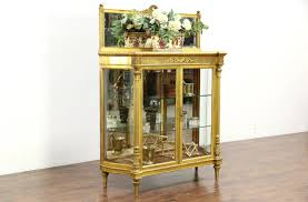 gold leaf 1880 antique french louis xiv curved glass curio china display cabinet