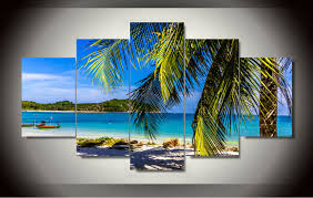 beach canvas wall art 5 panel abstract beach paintings cuadros wall art canvas painting wall pictures for living room with framed