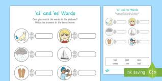 With simple rhyming text and phonic repetition, this book is specially designed to develop essential language and early reading skills. Ai And Ee Sounds Matching Activity Worksheet