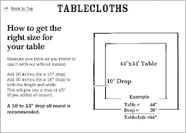 Oval Size Chart Round Tablecloth Sizes Obago Co