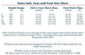 Salus Marine Size Chart Salus Marine