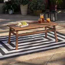 dark brown patio wood coffee table