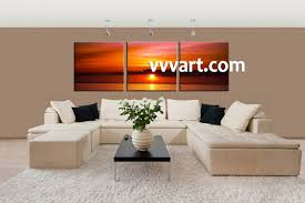 Living Room Wall Art And Decor 3 Piece Red Ocean Canvas Wall Art