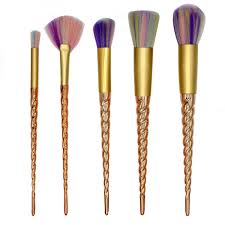 unicorn brush sets. 5 piece gold twisted unicorn makeup brush set sets