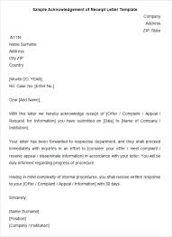 Acknowledgement Of Letter Received Template For Acknowledgement Letter Utopren Me