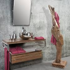 Comodini con tronchi : Appendiabiti a terra da bagno in legno di teak u2013 tree cipì