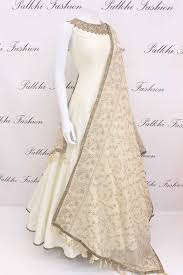 White Designer Outfits Appealing White Pure Silk Designer Outfit With Gorgeous
