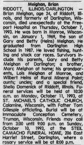 Obituary for Brian Meighan, 1969-1993 (Aged 24) - Newspapers.com