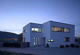 modern private home office. By Night Modern Private House Home Office E