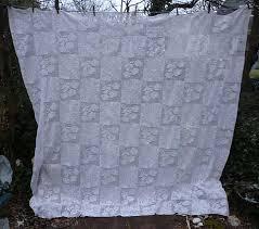 Romantic Roses Quilt Blocks Pattern White Crochet Bedspread from ... & Romantic Roses Quilt Blocks Pattern White Crochet Bedspread Adamdwight.com