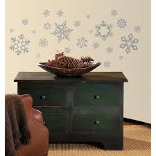 Peel And Stick Wall Decor 10 In X 18 In Glitter Snowflakes 47 Piece Peel And Stick Wall