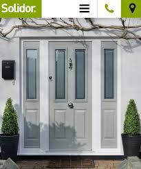 front doors with side panelsGrey green composite front door and side panels  Front doors