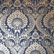 Damask Wallpaper Navy Blue Gold ...