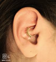 fresh daith piercing from the other day we think this solid yellow gold cora ring from buddha jewelry organics was such a great choice
