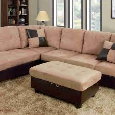 f103a beige brown microfiber faux leather sectional with storage ottoman
