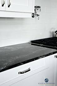 kitchen tile backsplash white black quartz white kitchen cabinets and off white light gray subway